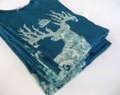 SALE - Ghost Spirit Deer Discharged Print on Dark Teal CanvasBrand 100% Cotton Unisex Fitted Tshirt