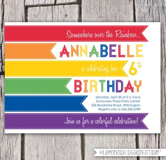 rainbow invitation modern rainbow birthday party invitation, party invitations