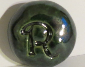 LETTER R Pocket Stone - Ceramic - BOTTLE GREEN Art Glaze - Inspirational Art Piece