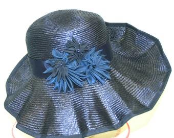 WIDE BRIM Navy Parasial Straw Hat, Kentucky Derby, Church, Large Brim