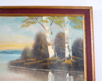 Vintage Original Art Framed Landscape Birches Trees Lake 1930s Cabin Home Decor