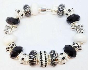 Zebra White Black European Style Charm Bracelet