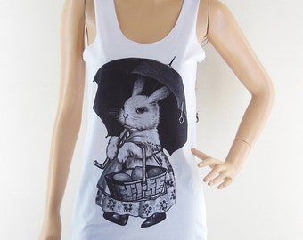 Rabbit umbrella (Size S) Animal Design Rabbit Tank Top Women T-Shirt Bunny Shirt White T-Shirt Tunic Screen Print Size S