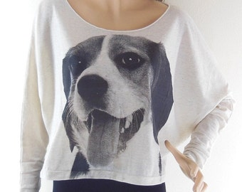 Dig Tshirt Cute Dog Basset Hound Funny Style Dog Sweater Dog Shirt Animal Style Bat Sleeve Crop Top Long Sleeve Screen Print Free Size