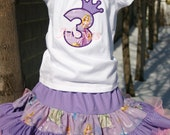 Ari's Angels Girls Tangeled, Rapunzel Birthday Outfit, Monogrammed Personalized Shirt & Full Twirling Skirt