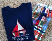 Monogrammed personalized Boys sailboat applique shirt shorts set, Michael Miller Going Coastal Patchwork PlaidBackordered til April 1st