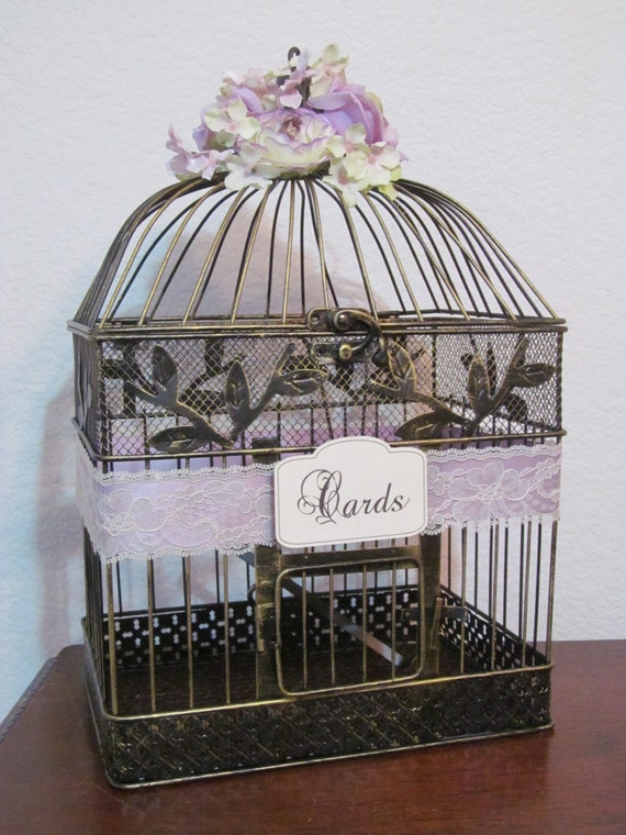 Birdcage For Wedding Gift Cards : ... & Lace / Wedding Card Holder Birdcage / Wedding Birdcage Cardholder