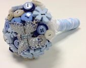 Flower girls or a Throwing Button & Butterfly bouquet in blue and white