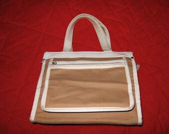 Light brown and white canvas Victoria purse 1970s