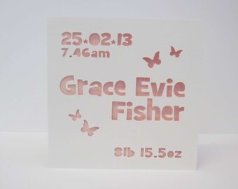 New  baby details papercut personalised card