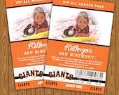 San Francisco Giants Ticket Style Birthday Party Invitations