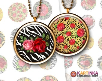 1 inch, 1.5 inch Digital Collage Sheet ROSES on ANIMAL PRINTS Patterns Printable Download for Pendants Bottle Caps Round bezel cabs Cabochon