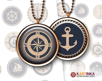 1 inch 25mm 1.5 inch 1.18 inch 30mm Printable image NAUTICAL MIX Digital download Round pendants Bezel trays Glass cabochon Mountings cameo
