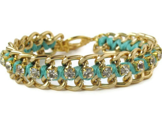 Light Teal Woven Chain & Rhinestone Bracelet