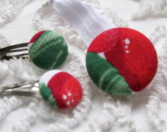 NEW pony tail hair holder clip SET wilendur strawberry tablecloth shabby chic VINTAGE covered button  best elastic gift