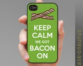 "iPhone Case ""Keep Calm, We Got Bacon On"" case for iPhone 6, iPhone 5/5s or iPhone 4/4s, Samsung Galaxy S6, Galaxy S5, Galaxy S4, Galaxy S3"