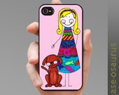 iPhone case - Girl and Dog--  Case for iPhone 6, 6Plus, iPhone 5/5s/5c, iPhone 4/4s, Samsung Galaxy S6, Galaxy S5, Galaxy S4, Galaxy S3