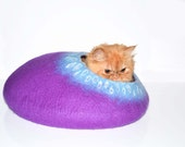 Purple Cat Bed, Cats Cave, Pets House felted wool