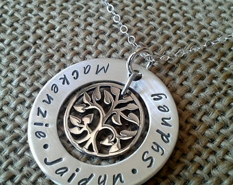 Mother Necklace - Mom Necklace - Gtrandma Necklace - Family Washer Necklace with Kids Names - Tree of Life Necklace by Stamped Evermore