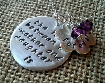 Mother Necklace, Love Between Mother Daughter Necklace, Hand Stamped Mother Gift, Daughter Gift with Swarovski Crystal Charms