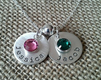 Birthstone Necklace, 2 Charm Mom Necklace,  Personalized Name Necklace, Grandma Necklace, Stamped Evermore