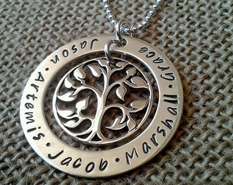 Custom Mom Necklace, Tree of Life Necklace, Mother Necklace, Grandma Necklace, Large Custom Tree of Life, by Stamped Evermore