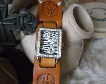 "Brown leather ""Live To Ride""  zebra print watch"