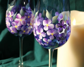 Hand Painted Wine Glasses (Set of 2) - Violets on Cobalt Blue glass