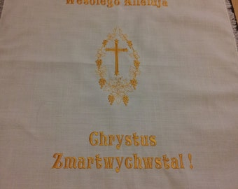 Linen Embroidered Pascha Easter Basket Cloth
