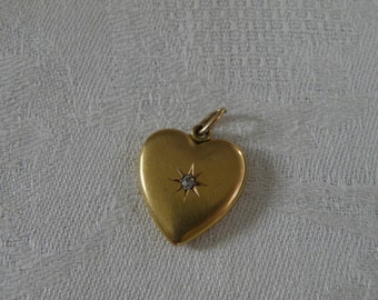 Vintage 14K Gold Heart Pendant with Diamond