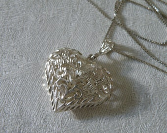 Vintage Etched Filigree Sterling Silver Heart Pendant Necklace - 24 inch