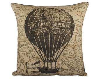 """Hot Air Balloon Pillow Cover, Flying Machine with Map Pillow, Steampunk, Sepia, Browns, Decorative Throw Pillow, 16"""""""