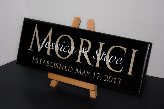 Wedding Date Picture Gift: Personalized Wedding Gifts Last Name Signs Established Date