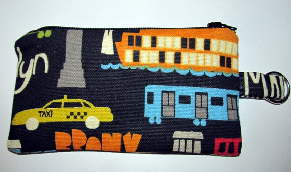 New York Handmade Coin purse - Change Pouch - Zippered Bag with Key Ring