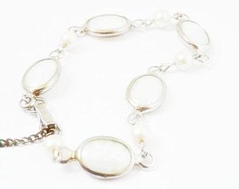 Judy Lee 1960's Vintage Art Glass and Pearl Bracelet