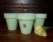 Reserved for dia.....Jadeite Fenton Martha Stewart Medium Flower Pot Shabby Chic Cottage