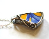 Yellow and Blue Ceramic Silver Necklace