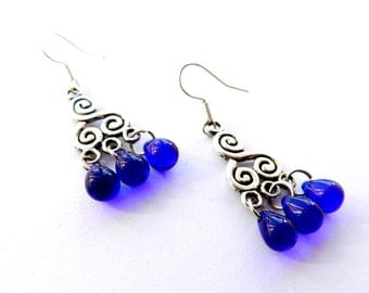 Nina Dangle Earrings Deep Blue Glass Teardrop