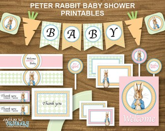 Peter Rabbit Girl's Baby Shower, Printable Party Package with orange background, INSTANT DOWNLOAD, digital file