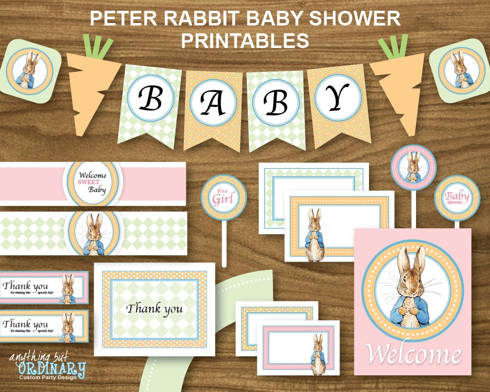 Peter Rabbit Girl's Baby Shower Printable Party Package