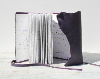 Purple Leather Journal Bound Handmade to Order Travel Diary Watercolor Art Notebook (180)