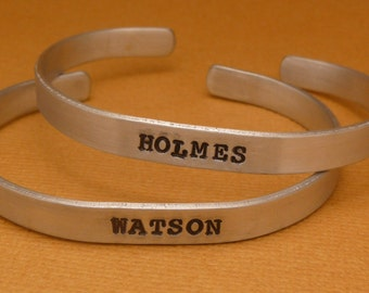 Sherlock Holmes Inspired - Holmes & Watson - Hand Stamped Bracelets in Aluminum or Sterling Silver