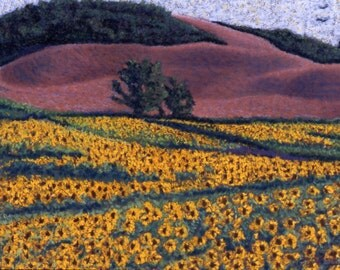 "Fine Art Print, Giclee Print, Sunflowers, Tuscany Sunflowers, Italy, Pastel Painting By Jan Maitland, Gold, Yellow, Landscape, 8"" X 10"""