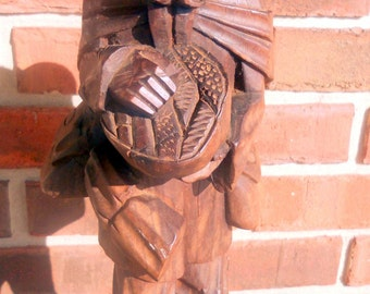 """Vintage Hand Carved 16 1/4"""" Tall Rustic Wooden Barefoot Walking Man Carrying Packs and Bowl for your Vintage Decor"""