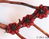 Beaded bracelet jewelry with flower design in red and black beads, fashion jewellery women accessories, hand crochet beadwork