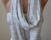 New - White and Silvery Striped Infinity Scarf