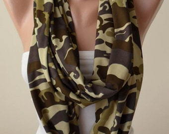Gift for her Infinity Scarf Army Colors Gift for Women Woman's Gift Christmas Gift Fashion Accessories Winter Scarf For Her
