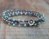 Waxed Linen Bracelet - Light Blue Czech Glass and Thai Silver Double Wrap Bracelet Finished with a Leather and Thai Silver Flower Clasp