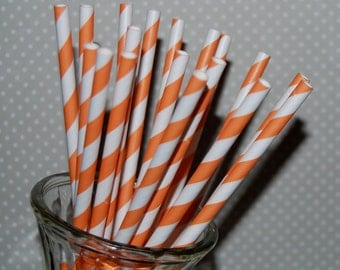 paper straws 25 orange stripe straws barber striped paper drinking straws - with FREE  Flags / Pendants vintage straws party straws