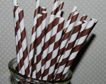 paper straws 100 Brown stripe straws barber striped paper drinking straws - with FREE  Flags / Pendants vintage straws party straws